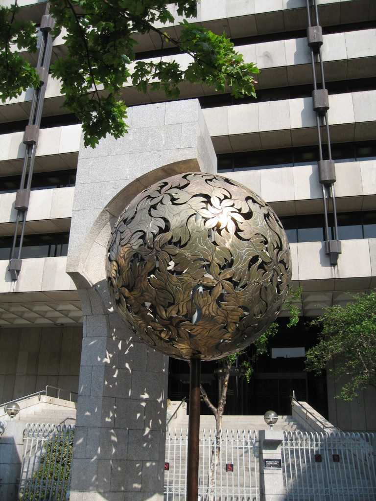 Orb-shaped sculpture