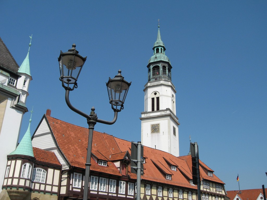 Houses and church tower, Celle