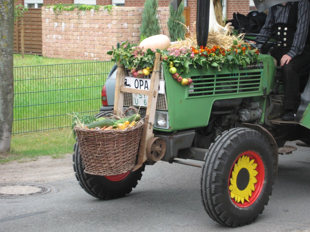Harvest parade decorated tractor