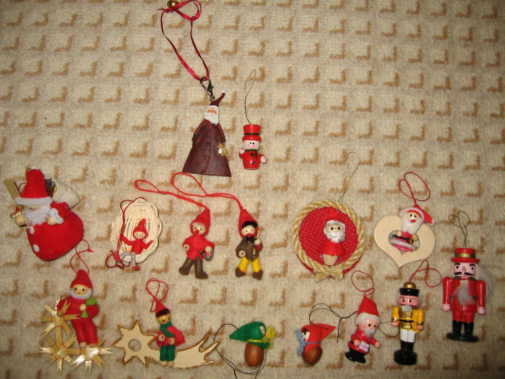 Christmas tree ornaments representing Hobbit characters