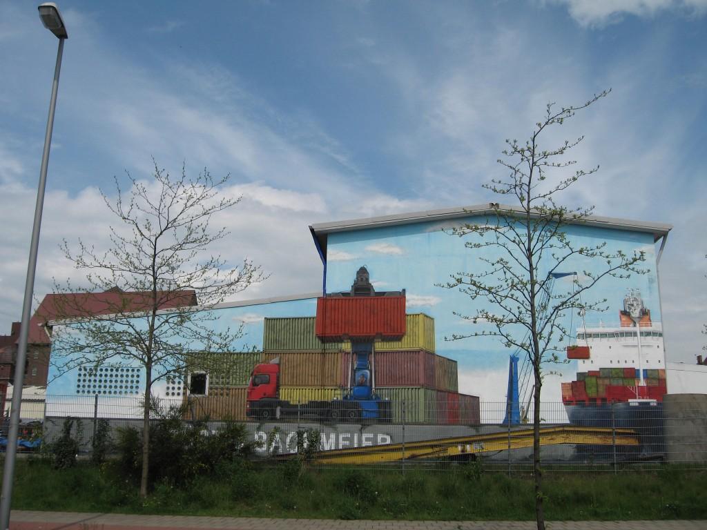 Bremen harbour trompe d'oeil