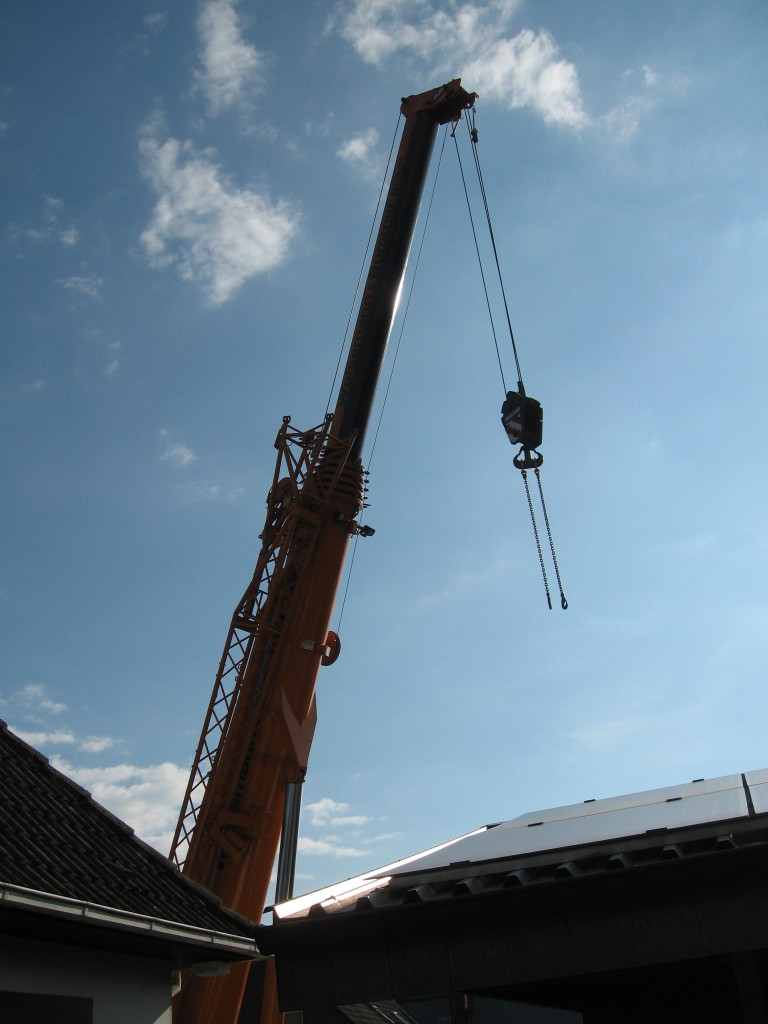 Crane over rooftops
