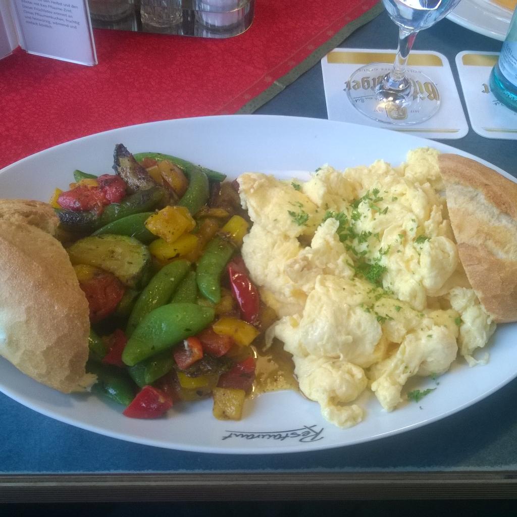 Scrambled eggs with veggie stir fry