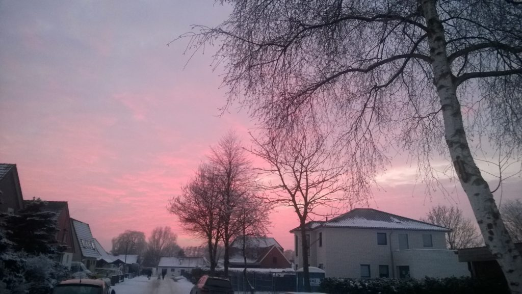 Pinks skies and snow