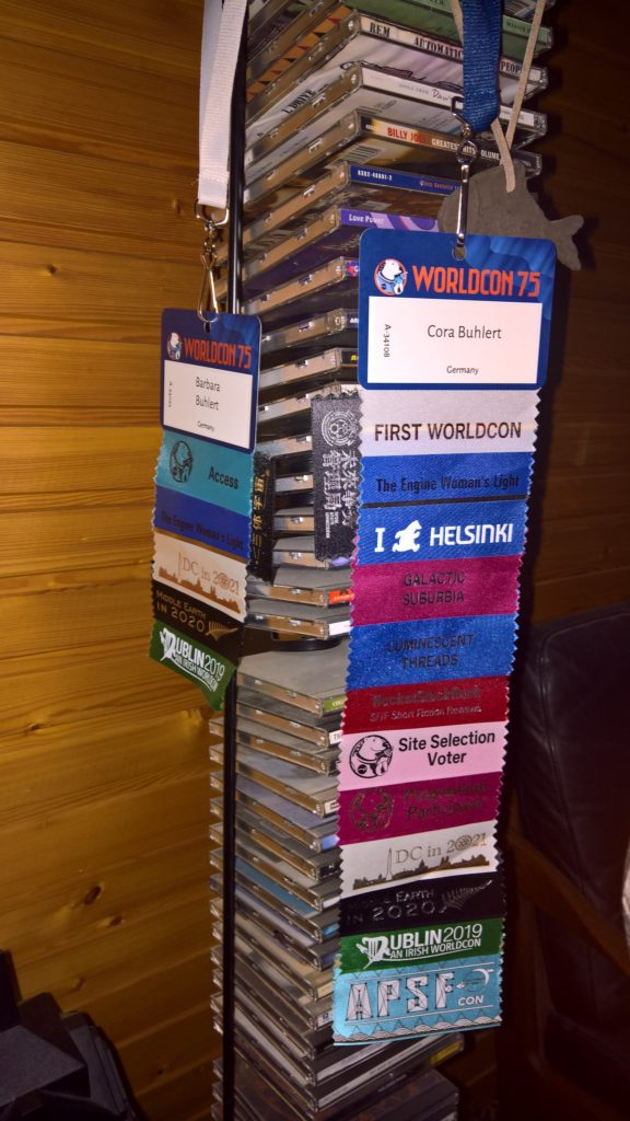 WorldCon 75 badges and ribbons