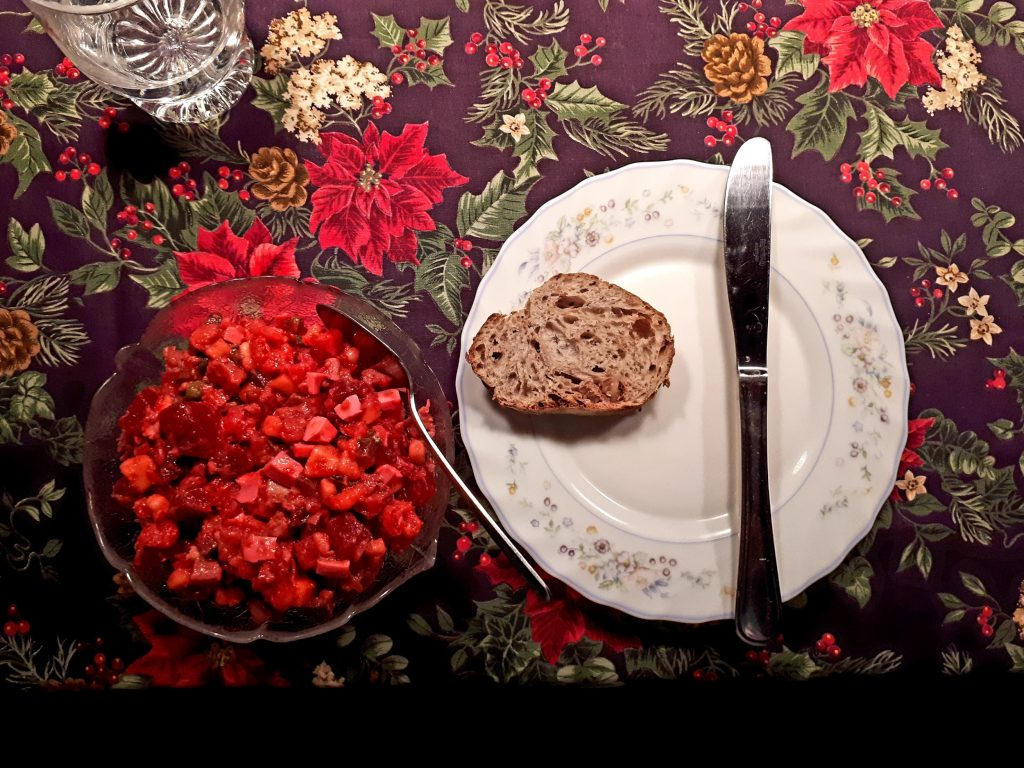 Herring salad and bread